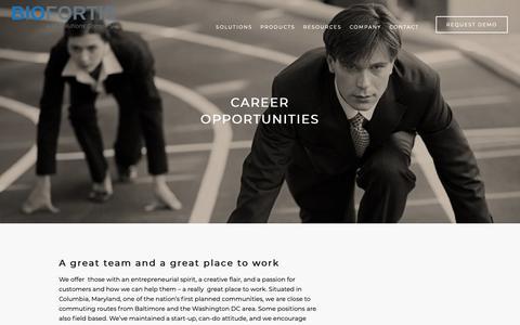 Screenshot of Jobs Page biofortis.com - Careers - captured Dec. 9, 2018
