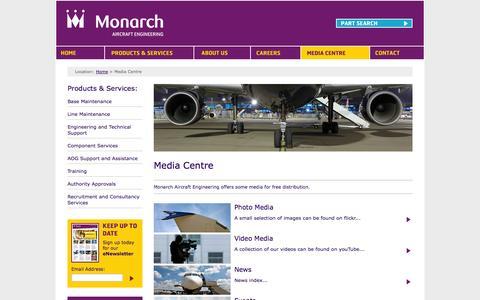 Screenshot of Press Page monarchaircraftengineering.com - Media Centre - captured Oct. 10, 2014