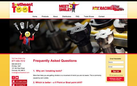Screenshot of FAQ Page southeasttool.com - FAQs / Router Bits for Wood, Router Bits for Plastic & Tooling Issues | Southeast Tool - captured Feb. 15, 2016