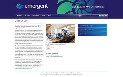 Screenshot of About Page emergentasset.com - Emergent Asset Management Ltd - captured Oct. 2, 2014