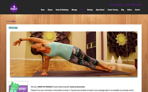 Screenshot of Pricing Page inspirityogaandfitness.com - Orlando Yoga prices | Inspirit Yoga Studio - captured Oct. 6, 2014