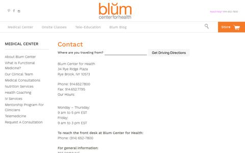Screenshot of Contact Page Maps & Directions Page blumcenterforhealth.com - Contact - Blum Center for Health - captured Aug. 3, 2018