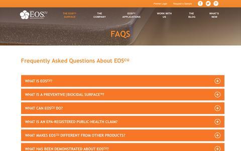 Screenshot of FAQ Page eoscu.com - EOScu | FAQs - captured March 2, 2016