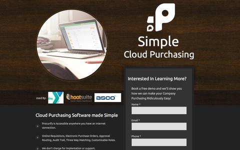 Screenshot of Landing Page procurify.com - Procurify Cloud Purchasing Software - captured May 10, 2016