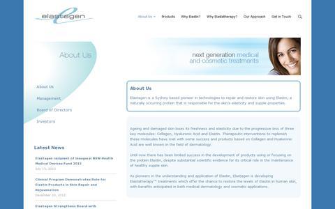 Screenshot of About Page elastagen.com - About Us - Elastagen - captured July 19, 2014