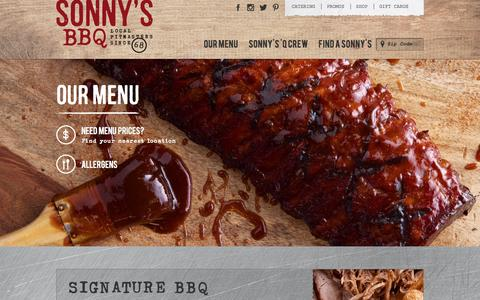 Screenshot of Menu Page sonnysbbq.com - View Our Full BBQ Menu   Sonny's BBQ - captured Dec. 5, 2016