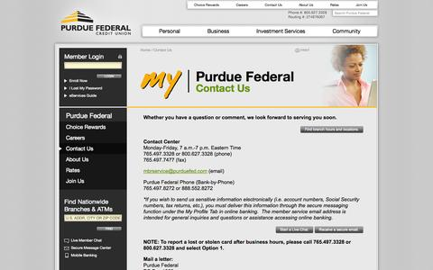 Screenshot of Contact Page purduefed.com - Contact Us | Purdue Federal Credit Union - captured Sept. 22, 2014