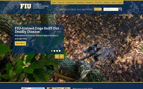 Screenshot of Home Page fiu.edu - Home - Florida International University - FIU - captured Oct. 16, 2015