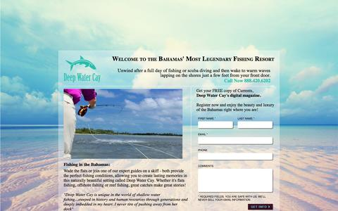 Screenshot of Landing Page deepwatercay.com - Welcome to the Bahamas' Most Legendary Fishing Resort - captured Oct. 27, 2014
