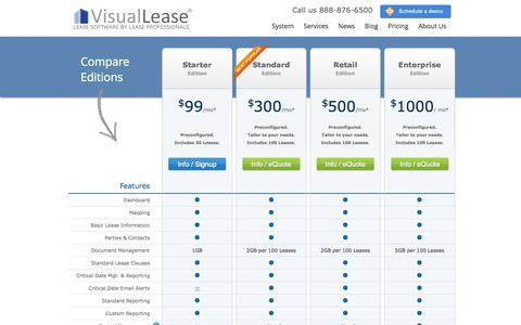 Screenshot of Pricing Page visuallease.com - Pricing   Visual Lease - captured Oct. 29, 2014