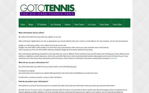Screenshot of Privacy Page gototennis.com - PRIVACY POLICY | GOTOTENNIS - captured Sept. 19, 2014
