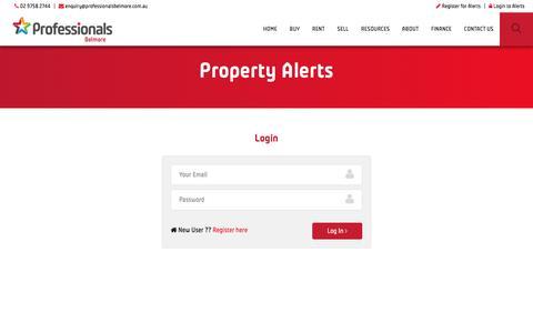 Screenshot of Login Page professionalsbelmore.com.au - Professionals Belmore - captured July 17, 2016