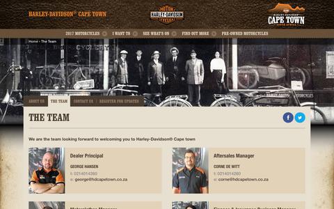 Screenshot of Team Page harley-davidson-capetown.com - The team | Harley-Davidson® Cape Town - captured May 15, 2017
