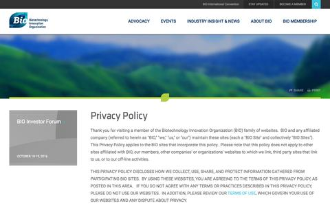 Screenshot of Privacy Page bio.org - Privacy Policy – BIO - captured Sept. 2, 2016
