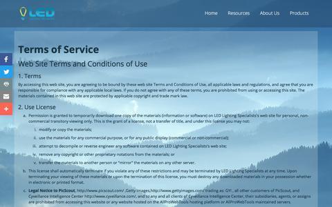 Screenshot of Terms Page ledlightingcolorado.com - Terms of Service - captured July 8, 2017