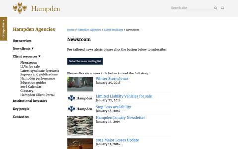 Screenshot of Press Page hampden.co.uk - Hampden Agencies Ltd - Newsroom - captured Jan. 25, 2016
