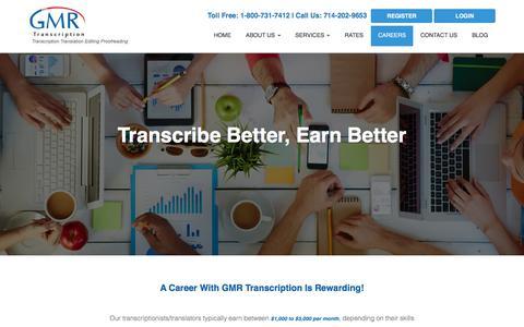Screenshot of Jobs Page gmrtranscription.com - Quality Transcriptionist Needed - Apply Now! - captured Nov. 19, 2019