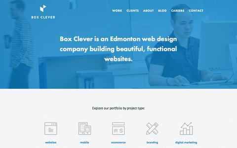 Screenshot of Home Page boxclever.ca - Box Clever: Edmonton Web Design & Digital Agency - captured June 30, 2017