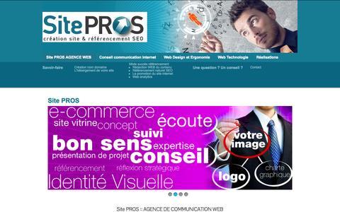 Screenshot of Home Page site-pros.fr - Création site internet - site Web Meyzieu Lyon : Site PROS - captured June 22, 2015