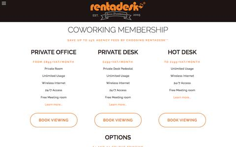 Screenshot of Pricing Page rentadesk.co.uk - PRICING — Coworking London Hot Desk Space Shared Office London Virtual Office London from £45/mo Rentadesk - captured Feb. 16, 2016