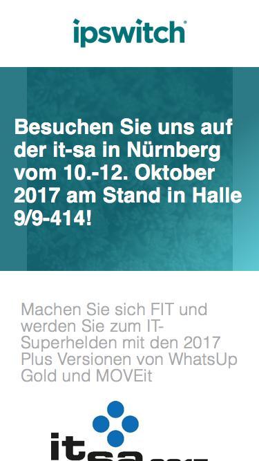 Besuchen Sie uns auf der it-sa in Nürnberg vom 10.-12. Oktober. 2017 am Stand in Halle 9/9-414!
