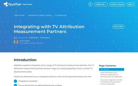 Screenshot of Support Page appsflyer.com - Integrating with TV Attribution Measurement Partners – Help Center - captured June 14, 2019