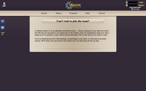 Screenshot of Jobs Page mantikgames.com - Mantik Games - Job-Offers - captured Sept. 30, 2014