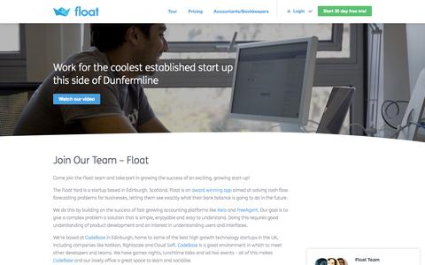 Screenshot of Jobs Page floatapp.com - Join our Team | Float - captured Oct. 22, 2015