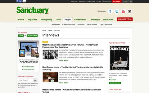 Screenshot of Team Page sanctuaryasia.com - Interviews - captured Sept. 19, 2014