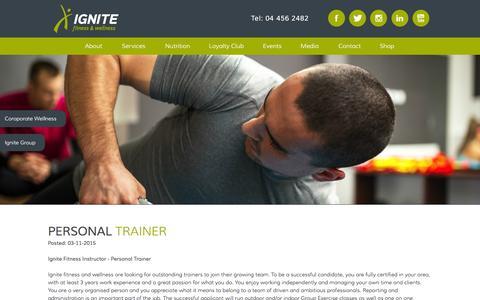 Screenshot of Jobs Page ignite-wellness.com - Ignite Fitness and Wellness - captured Feb. 10, 2016