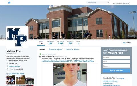Screenshot of Twitter Page twitter.com - Malvern Prep (@MalvernPrep) | Twitter - captured Oct. 23, 2014