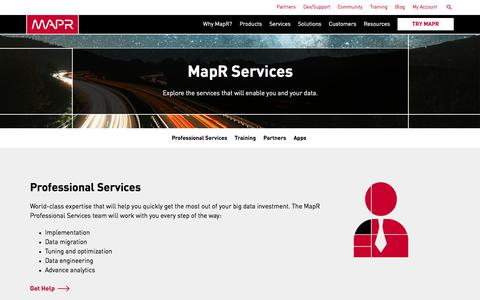 Screenshot of Services Page mapr.com - Services | MapR - captured June 9, 2017