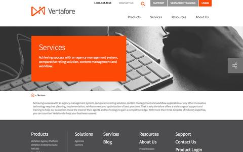 Screenshot of Services Page vertafore.com - Agency management systems, content management and workflow, comparative rating solutions | Vertafore - captured Oct. 29, 2014