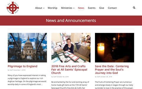 Screenshot of Press Page allsaintscarmel.org - News – All Saints' Episcopal Church - captured Nov. 12, 2018