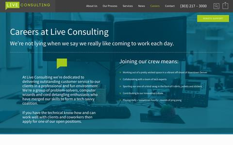 Screenshot of Jobs Page liveconsulting.com - Live Consulting – Denver IT Support Careers - Live Consulting - Denver IT Support - captured Nov. 11, 2015