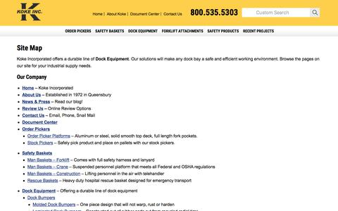Screenshot of Site Map Page kokeinc.com - Browse Pages For Materials Handling and Construction Equipment - captured Oct. 17, 2017