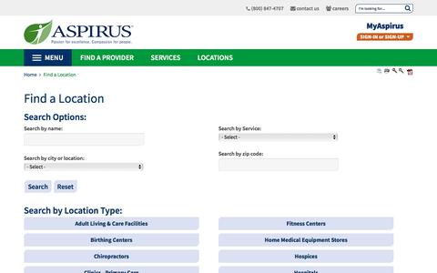 Screenshot of Locations Page aspirus.org - Find a Location | Aspirus Health Care - captured Sept. 24, 2018