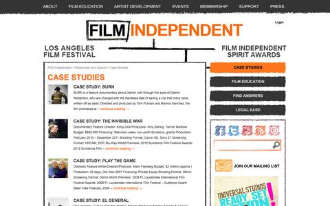 Screenshot of Case Studies Page filmindependent.org - Case Studies - captured Sept. 25, 2014