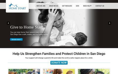 Screenshot of Home Page home-start.org - Home Start - Leading the fight against child abuse in San Diego - captured Sept. 29, 2018