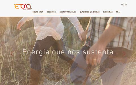 Screenshot of Home Page etsa.pt - Grupo ETSA - Proteína e Energia - captured Sept. 26, 2018