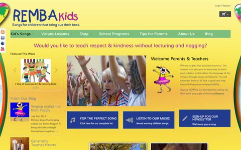 Screenshot of Home Page rembakids.com - Home | Remba Kids - captured Oct. 7, 2014