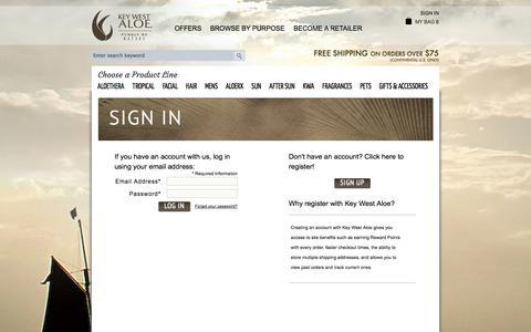 Screenshot of Login Page keywestaloe.com - Customer Login - captured Sept. 30, 2014