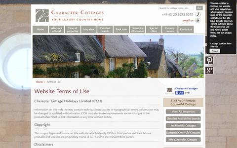 Screenshot of Terms Page character-cottages.com - Terms of use - captured Sept. 29, 2014