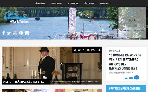 Screenshot of Home Page pays-des-impressionnistes.fr - Bienvenue au Pays des Impressionnistes - captured Sept. 23, 2015