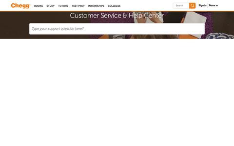 Screenshot of Contact Page chegg.com - Chegg Customer Service Phone Number & Help Center | Chegg.com - captured Oct. 11, 2016