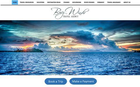 Screenshot of Home Page baywindstravel.com - Home - Bay Winds Travel Agency, Inc - captured Dec. 18, 2018