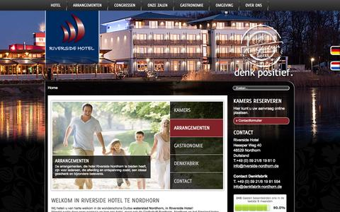 Screenshot of Home Page riverside-nordhorn.nl - Riverside Hotel Nordhorn | denk positief. - captured Oct. 10, 2015
