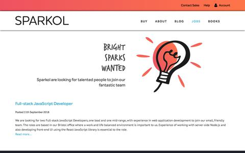 Screenshot of Jobs Page sparkol.com - Sparkol - Jobs - captured Sept. 19, 2018