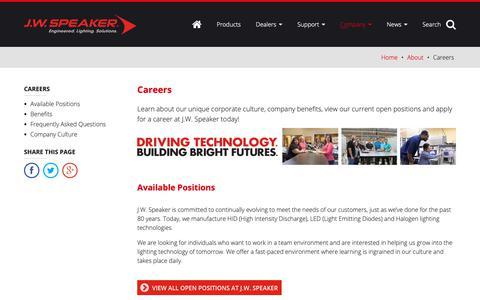 Screenshot of Jobs Page jwspeaker.com - Careers – About - J.W. Speaker - captured Dec. 17, 2018