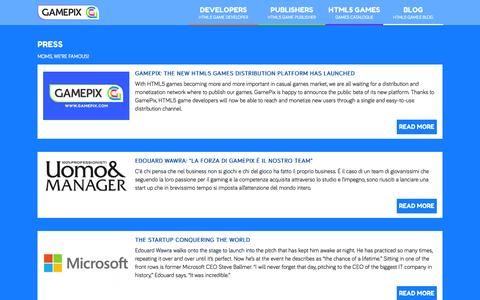 Screenshot of Press Page gamepix.com - Talking about startups? GamePix is everywhere! - captured Oct. 28, 2014
